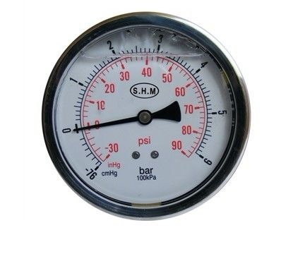 50mm White Aluminium Dials Gaseous Liquid-Filled Pressure Gauge With Glass Window