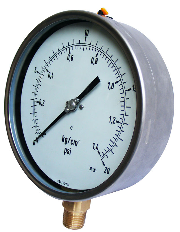 "Liquid-Filled Pressure Gauge with 3"": ± 1.6% 6"" Fixed Pointer Gaseou"
