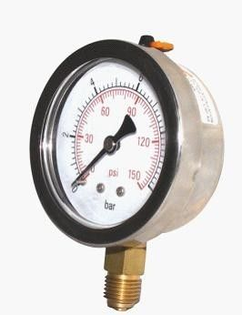 "Liquid-Filled Pressure Gauge with 3"": ± 1.6% 6"" Fixed Pointer Gaseous"